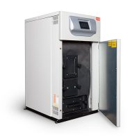 Woodco Prestige wood pellet boiler with door open