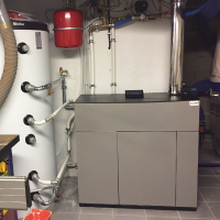 Internal slim pellet boiler installation